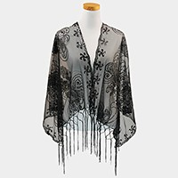 Mesh scarf with fringe & sequin flower