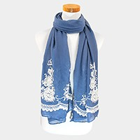 Embroidery flower lace oblong scarf