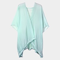 Solid tassel cover up with ripped back