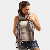 Beads & coins oblong scarf