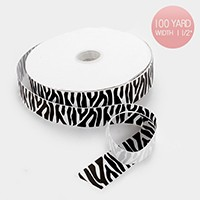 100 Yard zebra pattern grosgrain ribbon
