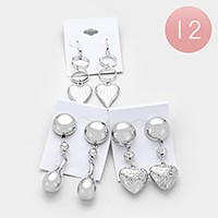 12 Pairs - heart dangle earrings