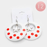 12 Pairs - star & polka dot hoop earrings