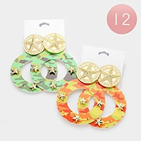 12 Pairs - Camouflage military pattern star hoop earrings