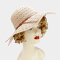 Crochet lace floppy sun hat with faux leather ribbon