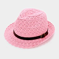 Crochet lace fedora hat with faux leather buckle belt