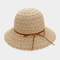 Crochet lace sun hat with faux suede ribbon
