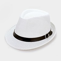 Straw fedora hat with faux leather buckle belt