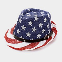 American flag _ straw fedora hat with star faux leather buckle belt