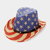 American flag _ straw cowboy fedora hat with star faux leather buckle belt