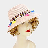 Rainbow tassel short brim sun hat with faux suede ribbon tie