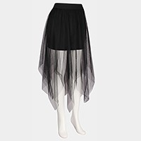 Midi mesh tulle skirt with underskirt