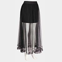 Long mesh tulle skirt with underskirt