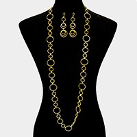 Hoop link chain long necklace