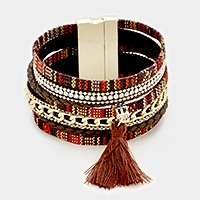 Multi-tier braided magnetic bracelet with tassel charm