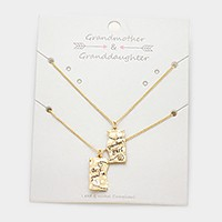 2 PCS - Grandmother & granddaughter heart pendant necklaces