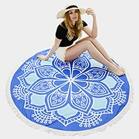 Ethnic flower _ multi-way round beach throw with tassel trim