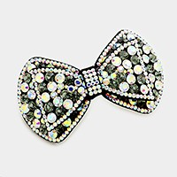 Felt back crystal hair bow hair barrette