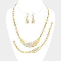 3-PCS Pave metal necklace jewelry set