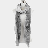 Ombre scarf with frayed hem