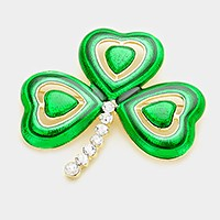 Lacquered clover brooch