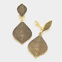 Textured metal clip on earrings