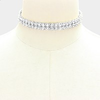 2-Row crystal choker necklace