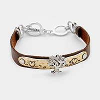 Tree of life faux leather toggle bracelet