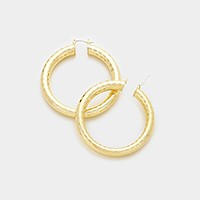 Faceted metal hoop pin catch earrings