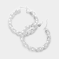 Twisted metal hoop pin catch earrings