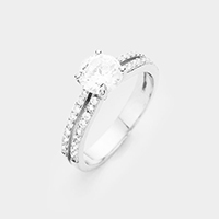 White gold plated round cut CZ ring