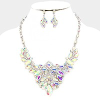 Glass crystal marquise evening necklace