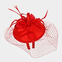 Feather & curly bow veil fascinator