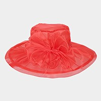 Organza bow wide brim hat