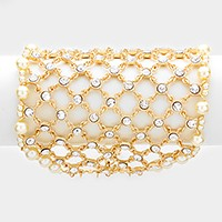 Pearl trim wide crystal net bracelet