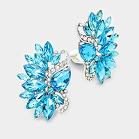 Glass crystal statement clip on earrings