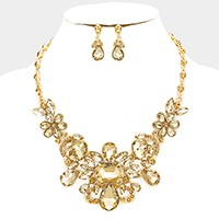 Glass crystal statement evening necklace