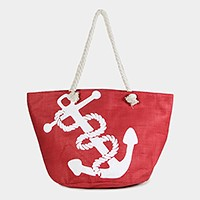 Nautical print paper straw zip beach bag