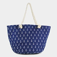 Anchor print canvas zip beach bag