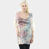 Bird print crochet tunic top