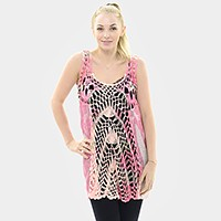 Flower print crochet tunic top