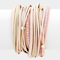Crystal detail multi-tier leather wrap magnetic bracelet