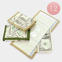 12 PCS - Hundred dollar print trifold wallets