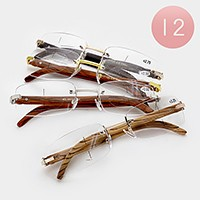 12 Pairs - Assorted power rimless square reading glasses