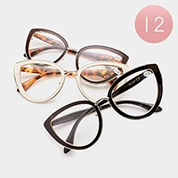 12 Pairs - Assorted power cat eye reading glasses