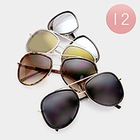 12 Pairs - Double frame aviator sunglasses