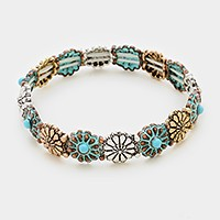 Antique turquoise flower stretch bracelet