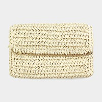 Chain detail crochet paper straw clutch bag
