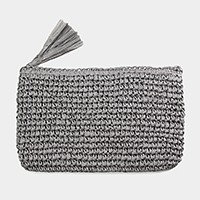 Crochet paper straw clutch bag with tassel