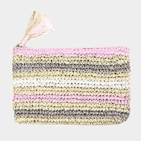 Striped crochet paper straw clutch bag with tassel